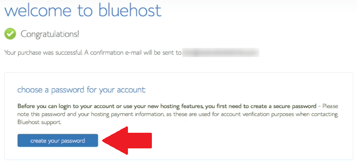 Bluehost Create Password