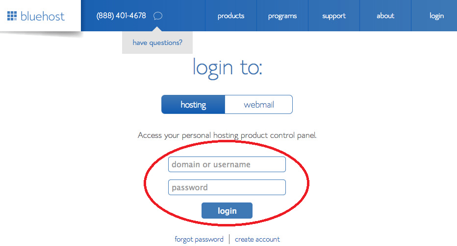 Bluehost Hosting Login