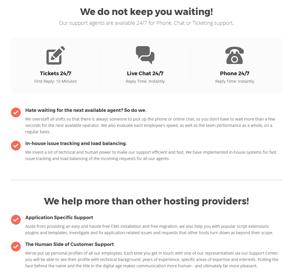 SiteGround Support Features