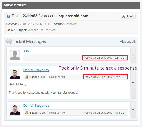 SiteGround Support Reply