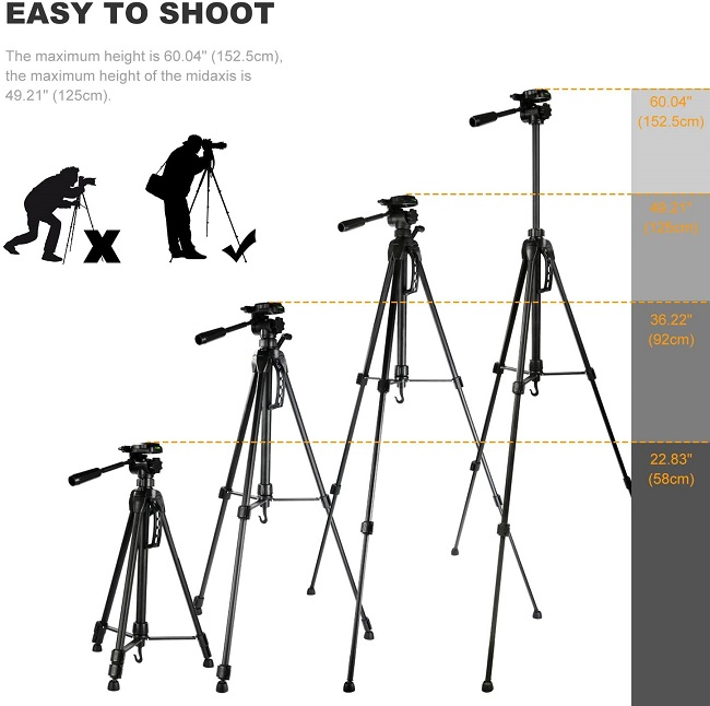 K&F Concept 60 inch Aluminum Travel Tripod with Lightweight Carry Bag for Digital SLR DSLR Camera